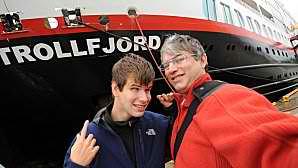 Gab et Dom devant le MS Trollfjord