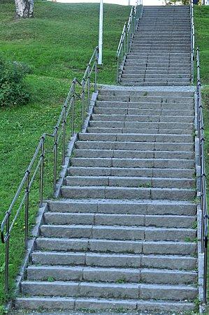 L'escalier menant à l'hôtel